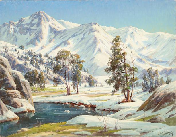 Paul Grimm (1891-1974) Sunkissed Snows - High Sierras - 28 x 36in