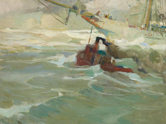 Armin Carl Hansen (1886-1957) Making Port 30 x 32in