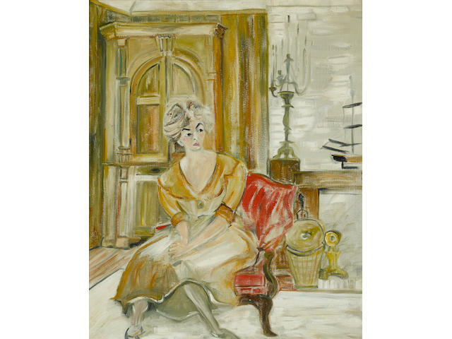 A Katharine Hepburn painting of her longtime secretary Phyllis Wilbourn which hung in her home