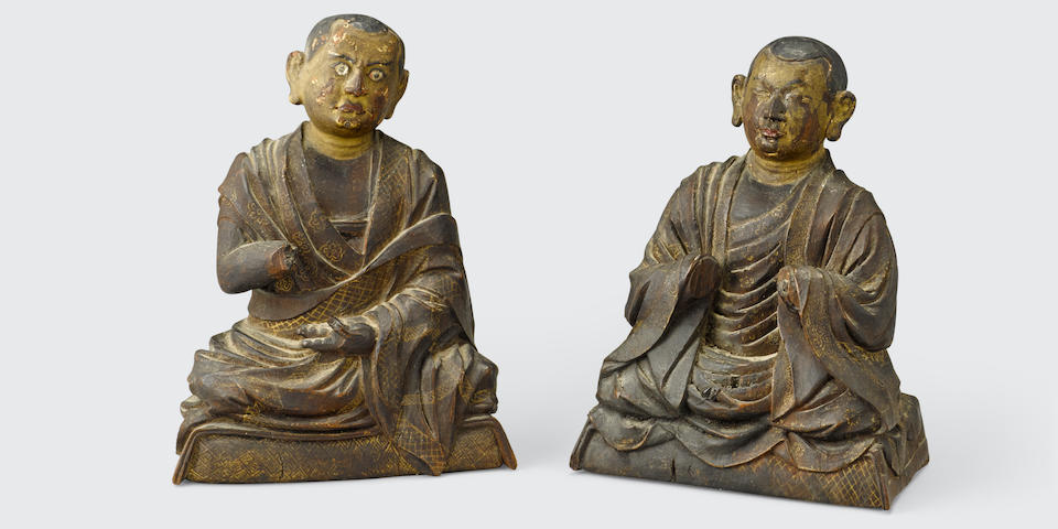Two polychromed wood figures of arhats Tibet, 18th century (2)