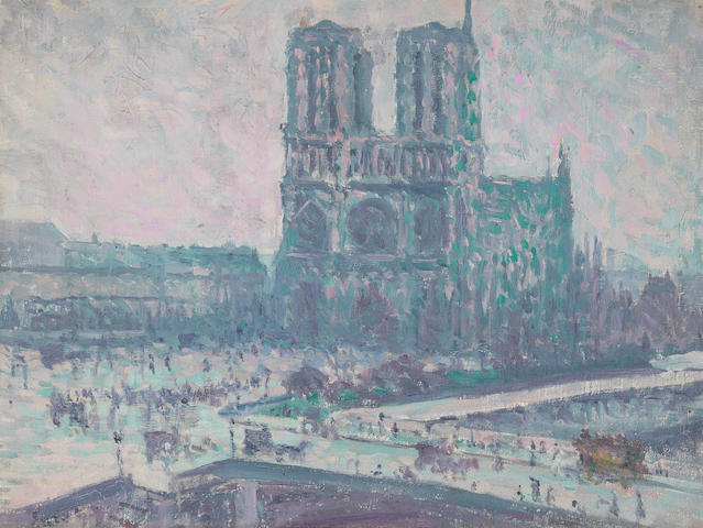Bonhams Maximilien Luce 1858 1941 Notre Dame De Paris 11 1 2 X 15 In 29 2 X 38 1 Cm Painted In 1899