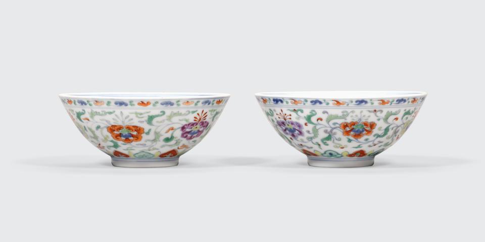 A pair of doucai enameled bowls Yongzheng marks, Republic period (2)