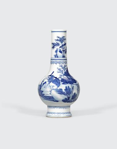 A blue and white porcelain vase Kangxi mark