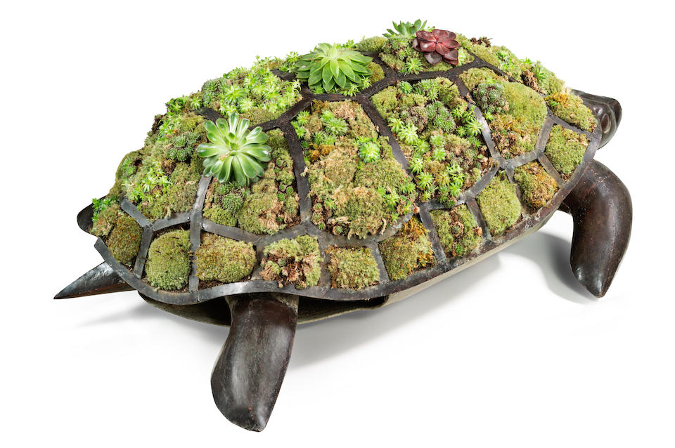 François-Xavier Lalanne (1927-2008) Tortue Topiaire1987black patinated copper, with topiary shell, stamped 'FXL' and 'Lalanne', numbered '2/8', together with a certificate of authenticity from Claude Lalannelength 49in (125cm); width 35in (86cm); height 15in (38cm)
