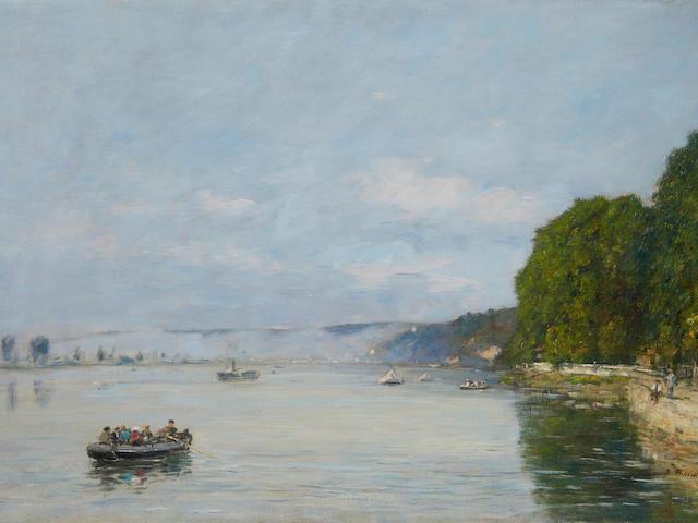 EUGÈNE BOUDIN (1824-1898) Caudebec-en-Caux, Bateaux sur la Seine 20 1/8 x 29 1/2 in (51.1 x 74.9 cm) (Painted in 1889)