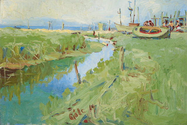 Selden Connor Gile (1877-1947) Alameda Slough 12 x 18in (Painted in 1914.)