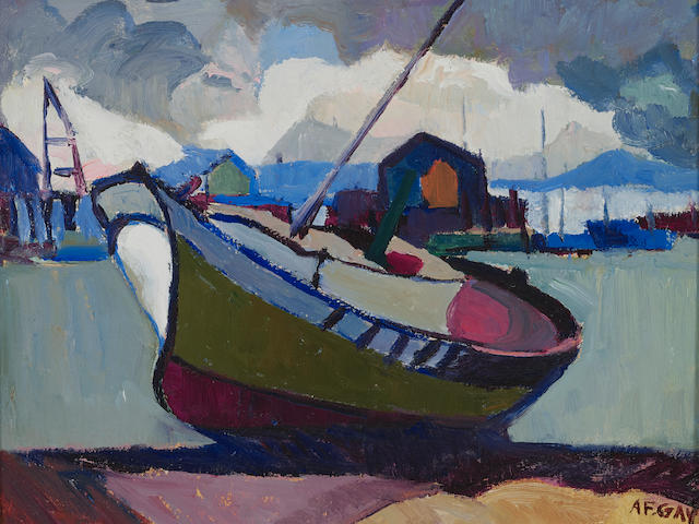 August Gay (1890-1948) Fishing Boat Aground 11 3/4 x 14in (Painted circa 1930.)