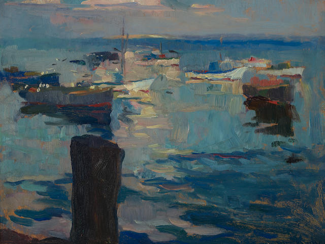 Armin Carl Hansen (1886-1957) Sailboats at Monterey Bay 15 5/8 x 19 9/16in (Painted circa 1925.)