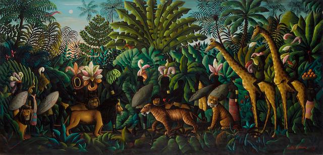 Orville Bulman (1904-1978) Entente Cordiale 33 x 68in (Painted in 1968-69.)