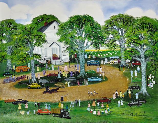 Helen LaFrance (born 1919) Church Fair 25 1/4 x 32in (Painted in 1995.)