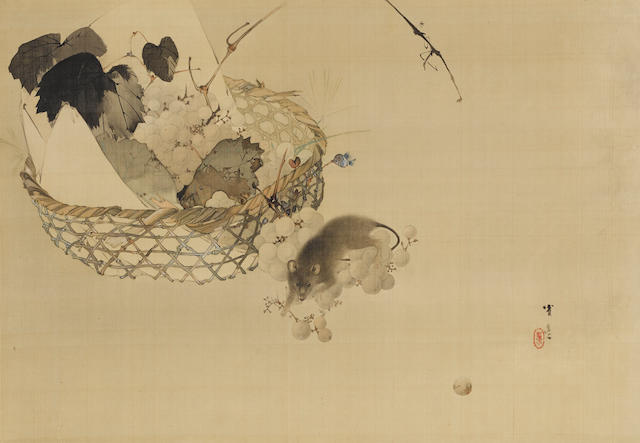 Watanabe Shotei (Seitei) (1851-1918) Mouse and Grapes