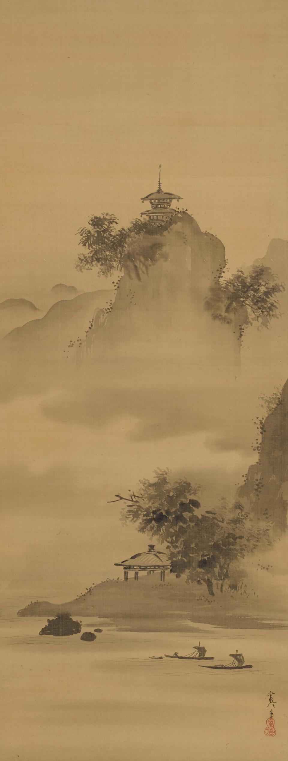 After Kano Tsunenobu (1636-1713) Landscape/Jurojin/Landscape  Edo period (18th/19th century) (3)