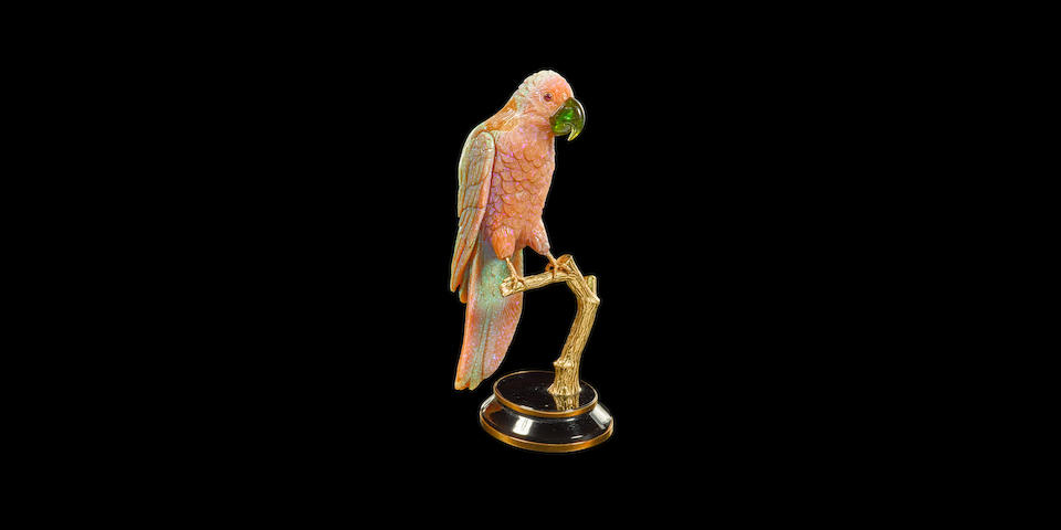 Carved Opal, Smoky Quartz and Tourmaline Parrot by Erwin Klein