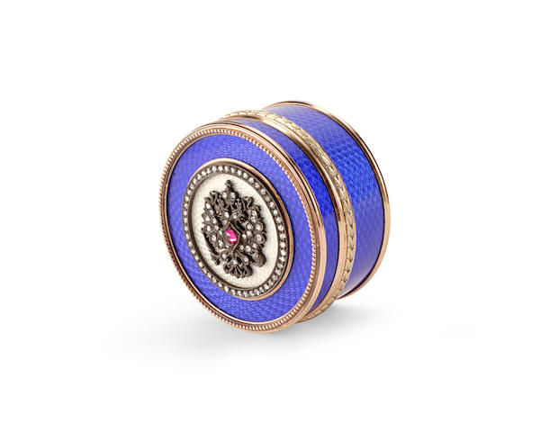A Russian 14K Gold, Silver, Diamond, Guilloche Enamel, and Ruby Cabochon-Mounted Pill Box In the Manner of Fabergé, late 20th century