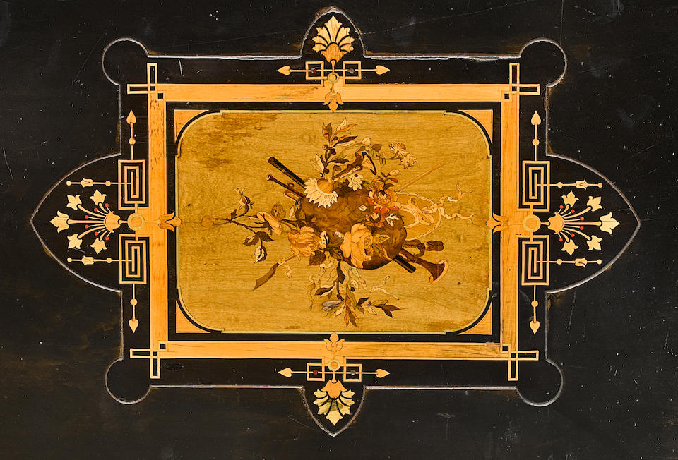 An American Aesthetic Marquetry Inlaid and Ebonized Center Table Possibly Herter Brothers Workshop, late 19th century