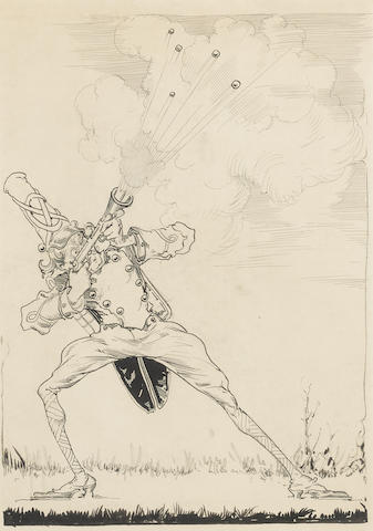 """NEILL, JOHN R[EA].  1877-1943. Original pen-and-ink drawing, """"He raised his gun, took aim and fired,"""" with additional drybrush of """"Private Files of Oogaboo,"""""""