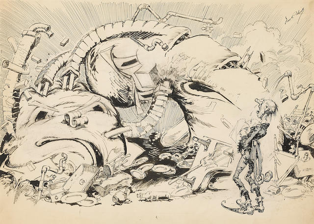 """NEILL, JOHN R[EA]. 1877-1943. Original pen-and-ink drawing, """"He moaned and sobbed, shrieked and howled, while he mopped at the tears that ran down his face,"""""""