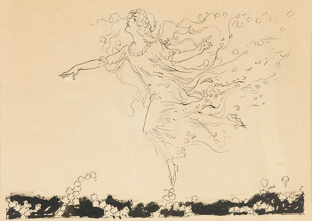 """NEILL, JOHN R[EA]. 1877-1943. Original pen-and-ink drawing, """"She fairly seemed to float above the flowers that blossomed along the way, as her dainty feet slipped from daisy to daisy,"""""""