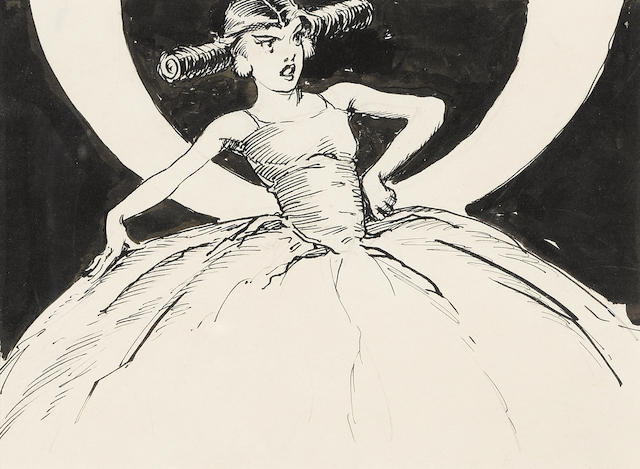 """NEILL, JOHN R[EA]. 1877-1943. Original pen-and-ink drawing, """"The first person to step into the shop was Jellia Jamb, Ozma's maid-in-waiting,"""" for the headpiece of Chapter 11 (""""Jellia Casts Her Vote""""),"""