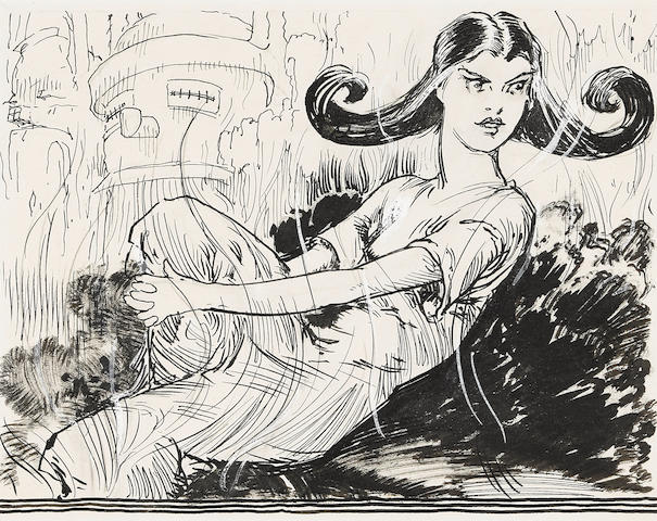 """NEILL, JOHN R[EA]. 1877-1943. Original pen-and-ink drawing, """"Jenny hit the pillow and came to a stop for the first time in four days,""""  with drybrush and some white paint highlights, for the headpiece of Chapter 4 (""""Jenny Becomes a Heroine""""),"""