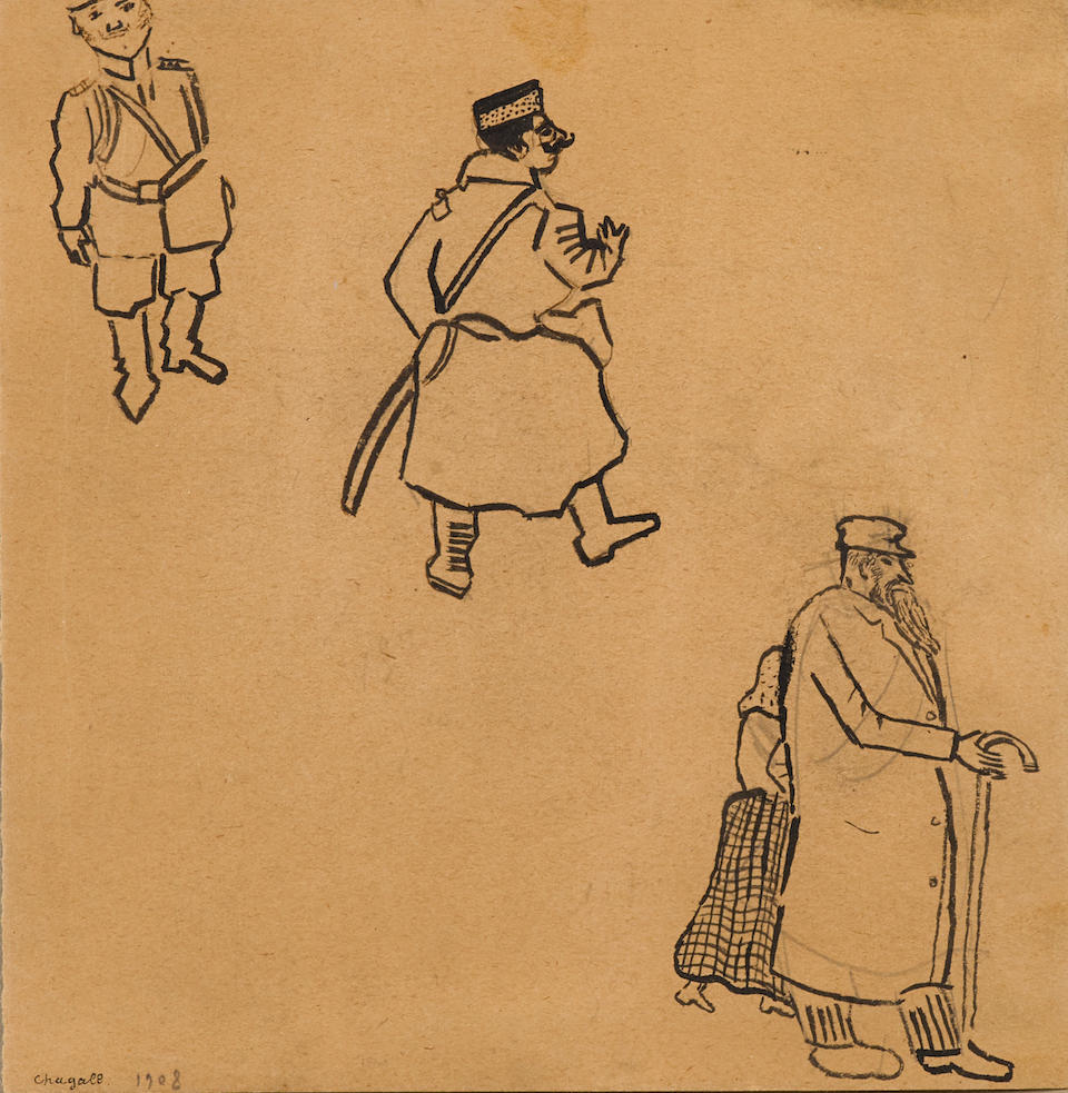 Marc Chagall (Russian/French, 1887-1985) Gendarmes Russes 18.1 x 17.8cm (7 1/8 x 7in).