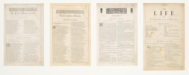 SHAKESPEARE, WILLIAM. 1564-1616. A collection of 4 opening title pages for plays from the 1st to 4th Folios, [London: 1623-1685],