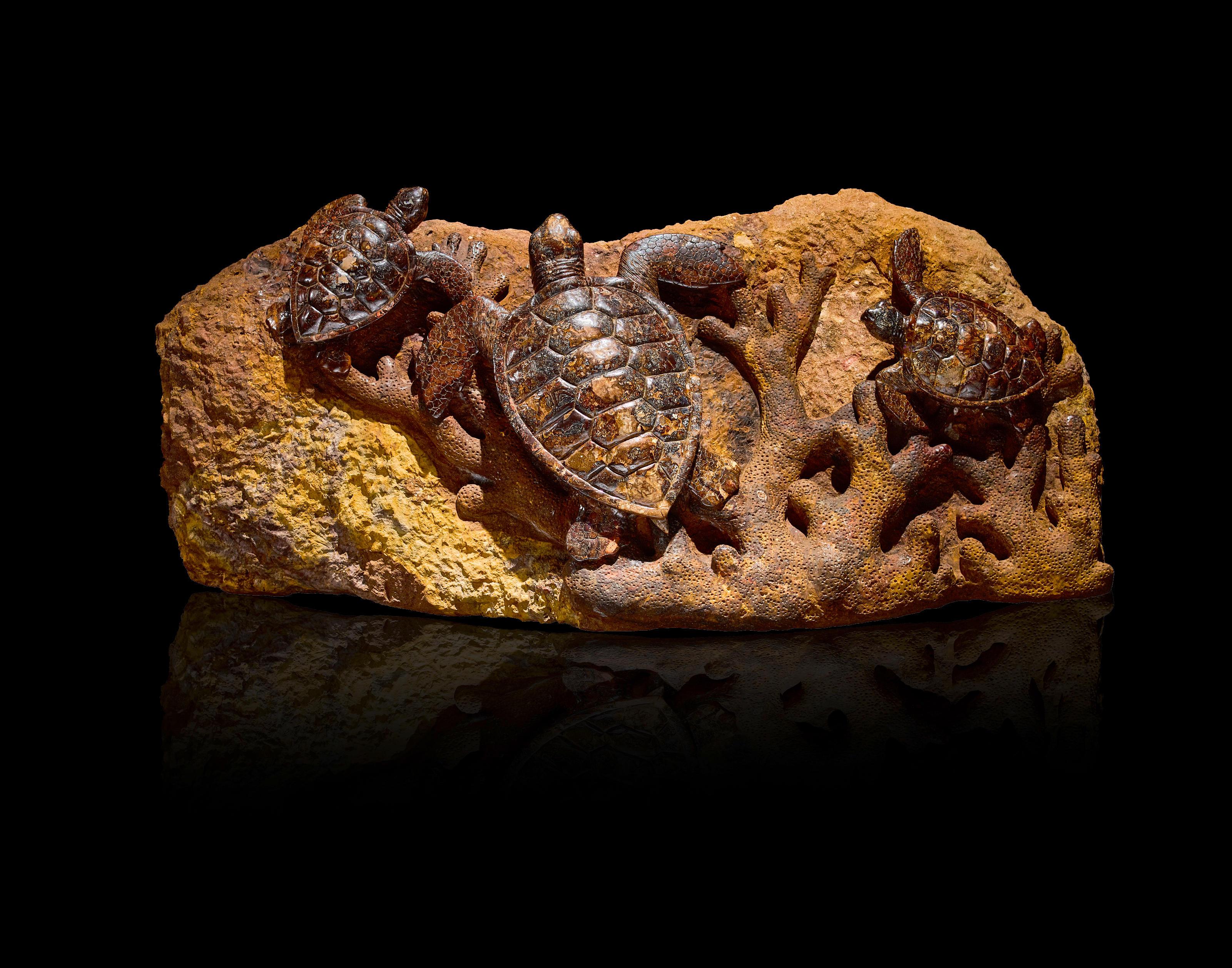 Large and Impressive Boulder Opal Carving of Sea Turtles