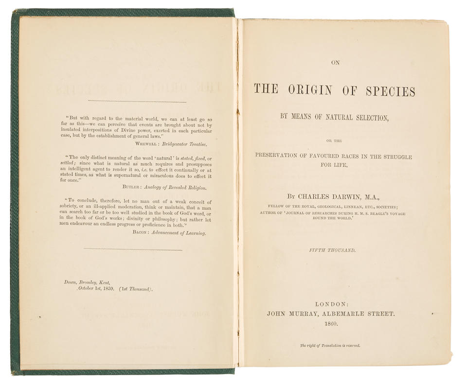DARWIN, CHARLES. 1809-1882. On the Origin of Species by Means of Natural Selection. London: John Murray, 1860.