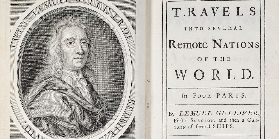 SWIFT, JONATHAN. 1667-1745. Travels into Several Remote Nations of the World ... by Lemuel Gulliver, first a Surgeon, then a Captain of several ships London: for Benj[amin] Motte, 1726.