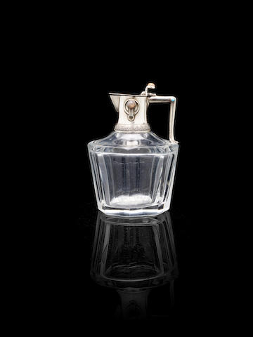 A Russian silver-mounted decanter by Fabergé, Moscow 1908 - 1927, workmaster's mark of Erik Kolin