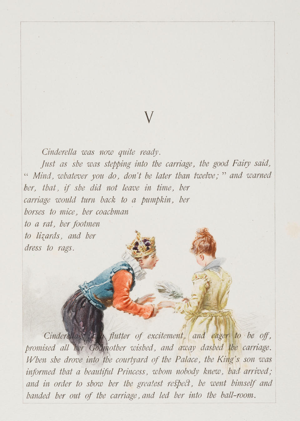 BEAUMONT, EDOUARD DE. 1821-1888.  [PERRAULT, CHARLES. 1628-1703.] Cinderella and the Two Gifts. Asnieres: Boussod Valadon & Co., 1886.
