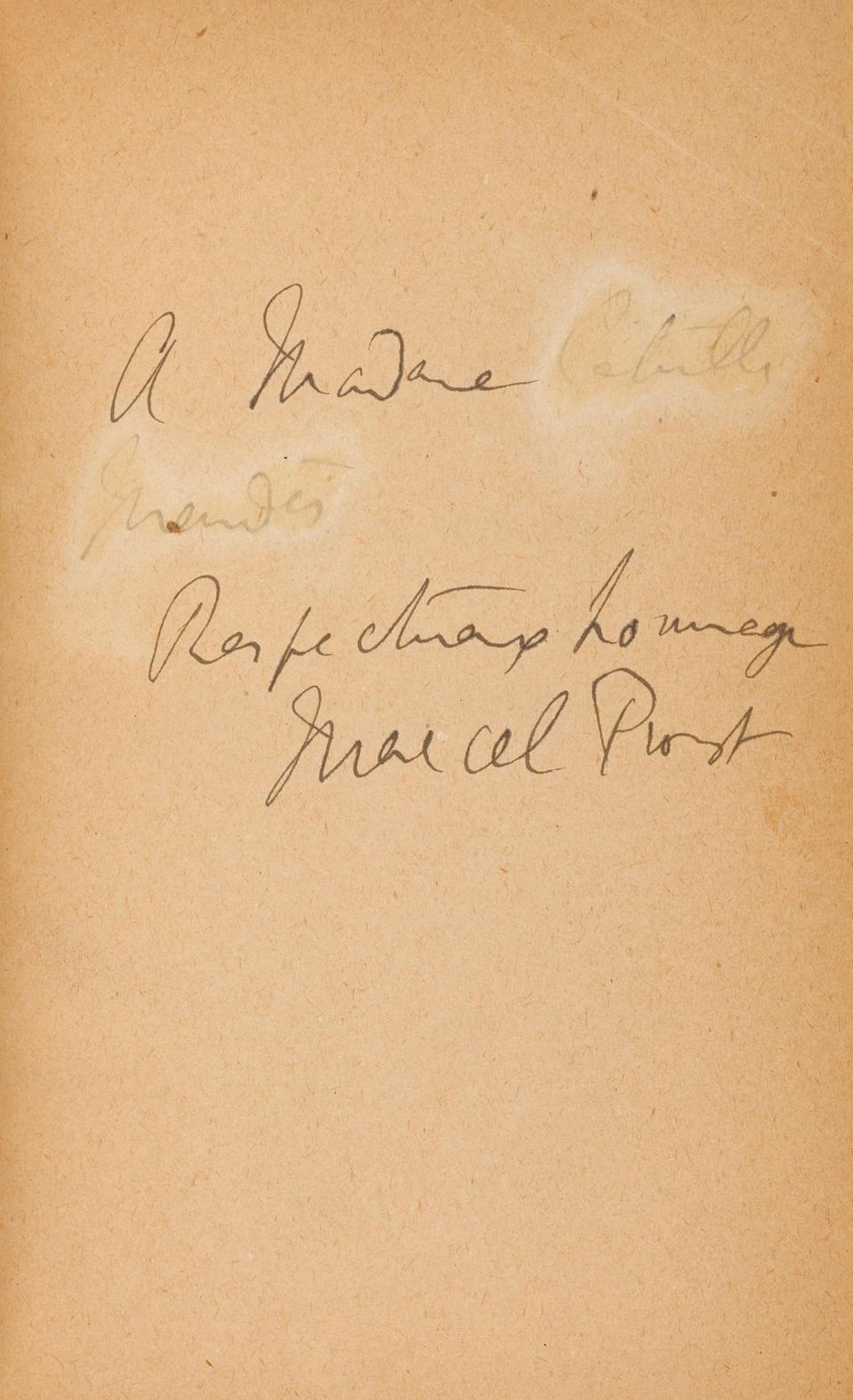 PROUST, MARCEL. 1871-1922. Du coté de chez Swann. Paris: Bernard Grasset, 1913.
