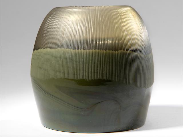 Thomas Stearns (1936-2006) Rare Nebbia Lunare Vaseexecuted 1961-62model no. 8625, for Venini, partially wheel-carved translucent glass cased in pasta glass, acid stencil 'venini murano ITALIA'height 4 1/4in (10.8cm); width 4 1/4in (10.8); depth 4 1/8in (10.5)