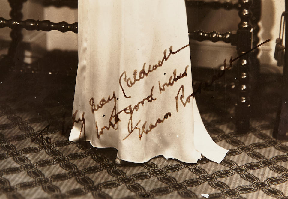 """ROOSEVELT, ELEANOR. 1884-1962. Photograph Signed and Inscribed (""""Eleanor Roosevelt""""), 8 x 10 inch silver gelatin print portrait of Roosevelt as First Lady,"""