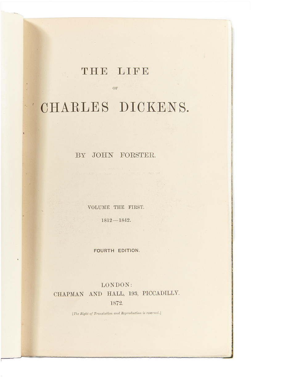 DICKENS, CHARLES. 1812-1870. FORSTER, JOHN. The Life of Charles Dickens.  London: Chapman and Hall, 1872-74.