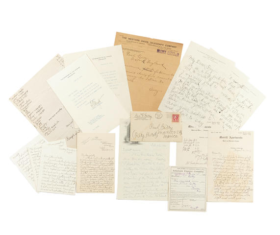"""GETTY, JEAN PAUL.  1892-1976. 12 Autograph Letters Signed (""""Paul""""), 48 pp recto and verso, 8vo and 12mo (many conjoining leaves), various places including Hong Kong, Berkeley, Oxford, London and Tulsa, June 15, 1912 to October 27, 1933,"""