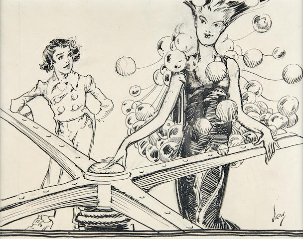 "NEILL, JOHN R[EA]. 1877-1943. Original pen-and-ink drawing, ""She stared down at herself in amazement,"" with drybrush drawing, for the headpiece of Chapter 6 (""The Magic Turn-Style""),"