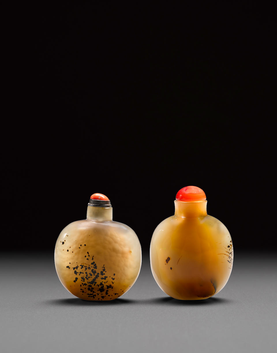 Two agate snuff bottles (2)