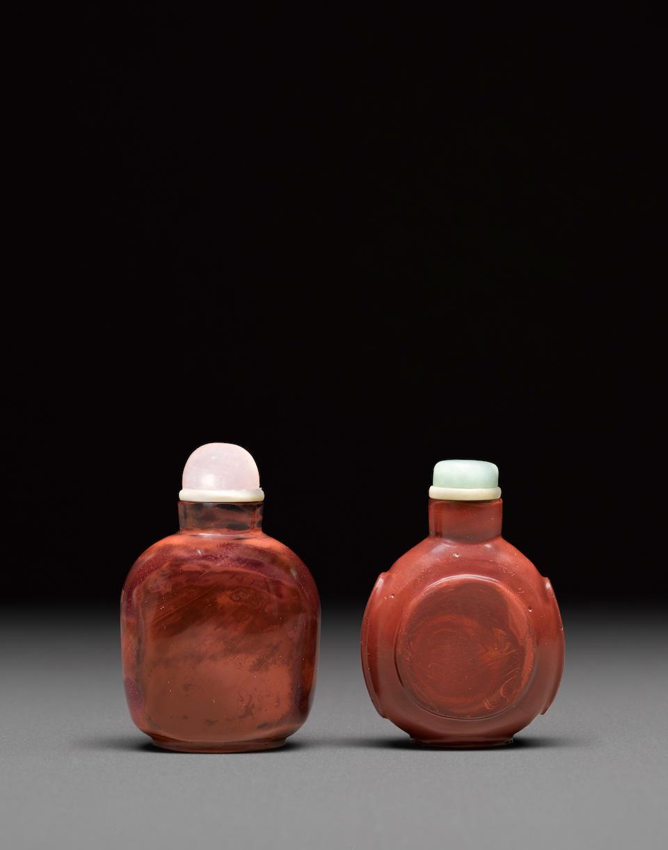 Two 'jasper' glass snuff bottles Late 19th century (2)