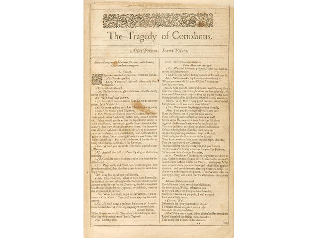 SHAKESPEARE, WILLIAM. 1564-1616. The Tragedie of Coriolanus [Extracted from the First Folio].. [London: Isaac Jaggard..., 1623.]