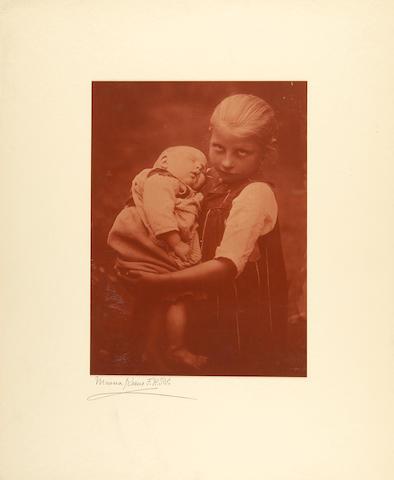 Keene, Minna. 1861-1943. Original glass plate negative, Little Mother,