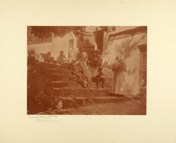 Keene, Minna. 1861-1943. Original photograph, Making the Patchwork Quilt,