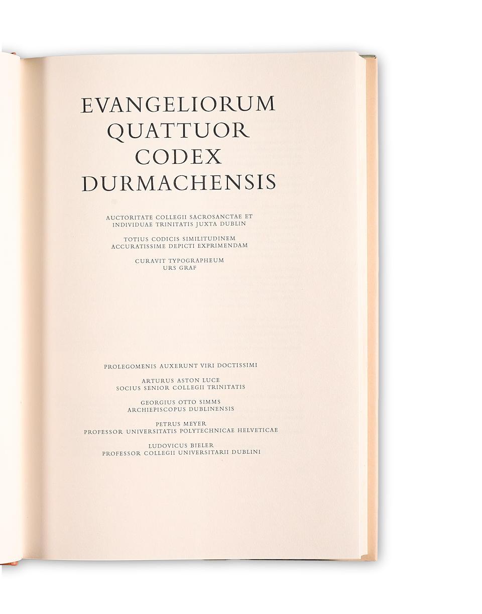 URS GRAF.                                               Book of Durrow: Evangeliorum quattuor Codex Durmachensis.  Olten, Lausanne and Freiburg: Urs Graf-Verlag, 1960.