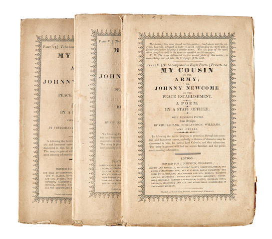 COMIC LITERATURE. [Mitford, John. 1781-1859.] My Cousin in the Army: or Johnny Newcome on the Peace Establishment. London: J.Johnston, 1822.