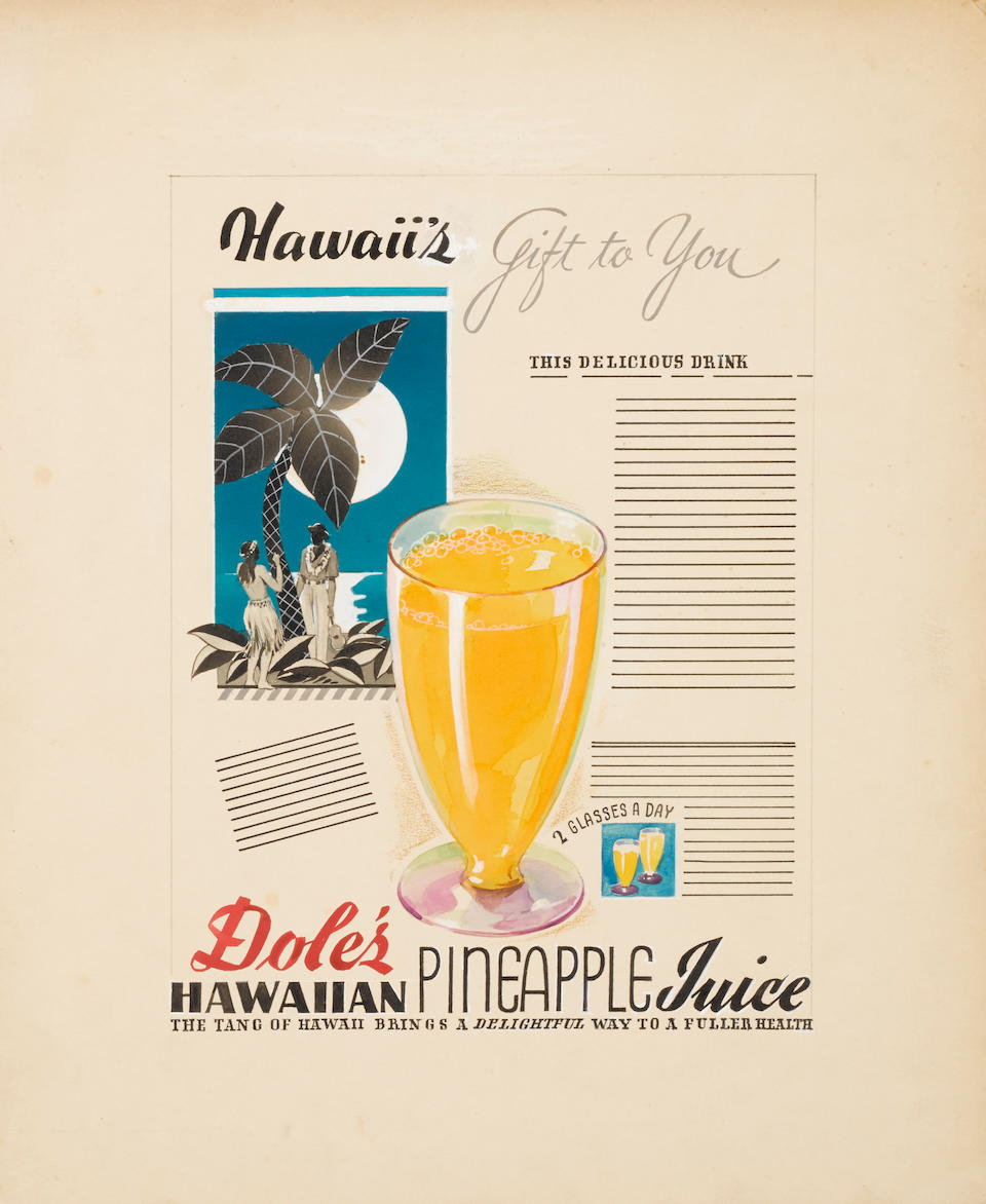 KLETZKER, CHARLES HARRY. 1884-1959. 2 original pieces of advertising art, [1930s]: