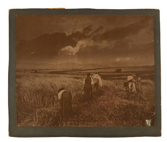 Keene, Minna. 1861-1943.  The Harvesters. Original carbon print.