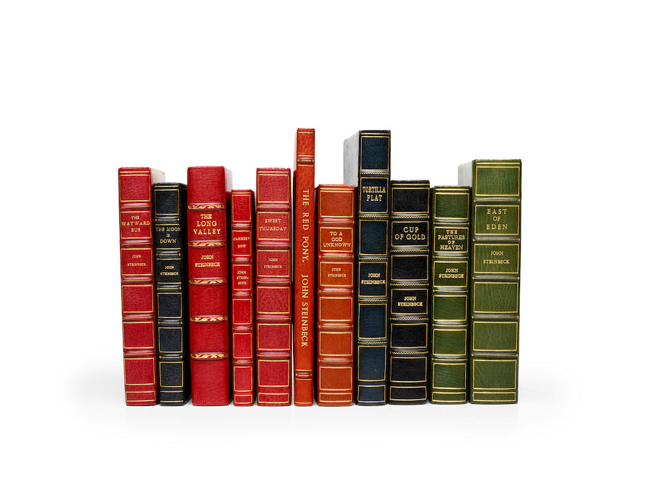 STEINBECK, JOHN. 1902-1968. 11 titles, finely bound in crushed morocco for Asprey, including: