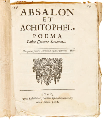 Dryden, John. 1631-1700. Absalon and Achitophel. A Poem. London: Jacob Tonson, 1681-82.