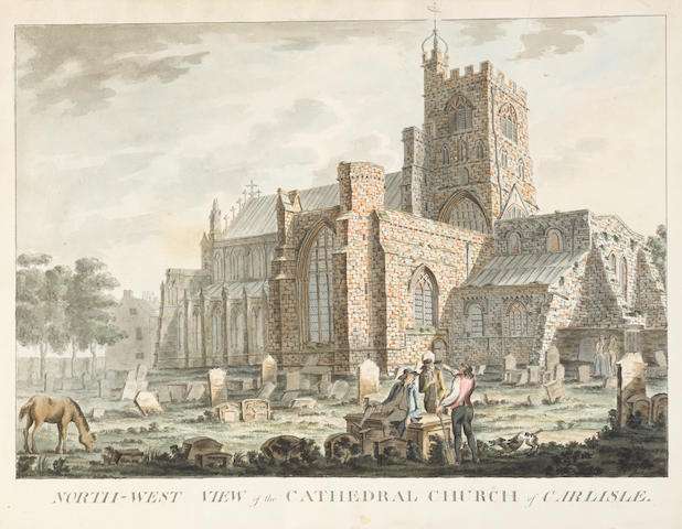 """CARLISLE CATHEDRAL, CUMBRIA. CARLILE, ROBERT. Album of original watercolors on paper, entitled """"The Antiquities of the Cathedral Church of Saint Mary, Carlisle,"""" 1791,"""