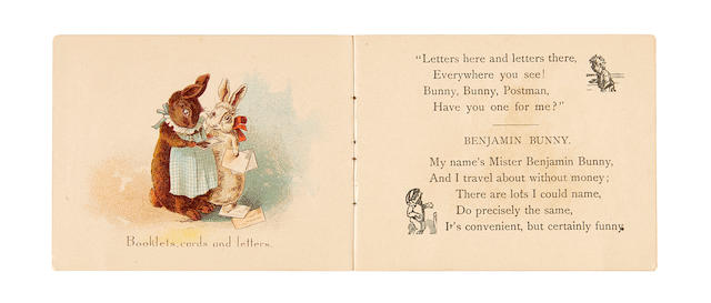 POTTER, BEATRIX. 1866-1943. Bunny the Postman [Caption title, being extracts from A Happy Pair]. Philadelphia: Sunshine Publishing Company, [1892?].